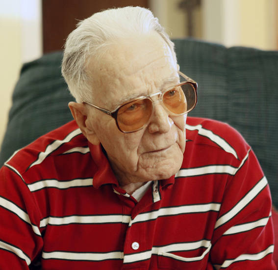 Dewey Jay, a Pearl Harbor veteran, talks about his experiences during the Dec. 7 attack.  Photo by Paul Hellstern, The Oklahoman <strong>PAUL HELLSTERN - Oklahoman</strong>