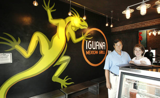 Developer Steve Mason and hostess Bonnie Tibbs in the entry at the Iguana Mexican Grill, 9 NW 9 Street, in Oklahoma City Wednesday, July 23, 2008. BY PAUL B. SOUTHERLAND, THE OKLAHOMAN