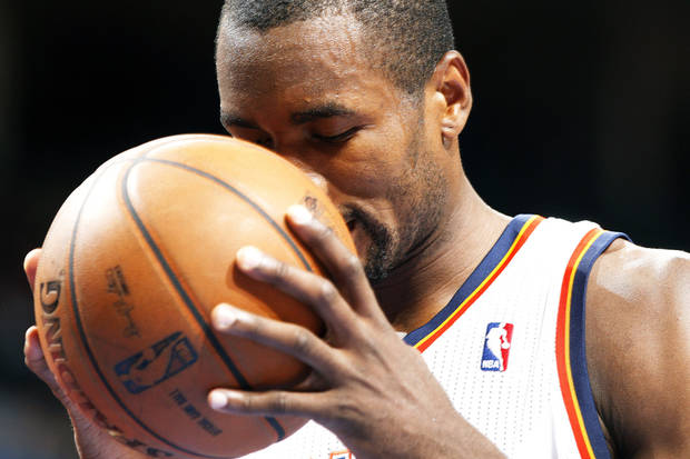Serge Ibaka prepares to shoot a free throw on Feb. 24. Photo by Sarah Phipps, The Oklahoman Archives