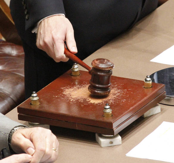 Lieutenant Governor Todd Lamb strikes the gavel during the first day of the 54th legislature session at the state Capitol in Oklahoma City, Monday February  04, 2013. Photo By Steve Gooch, The Oklahoman