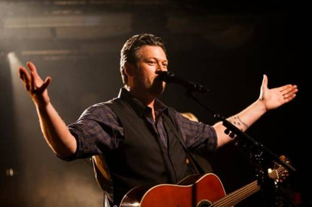 """Oklahoma country music superstar Blake Shelton performs songs from his new album, """"Based On A True Story ..."""", at an exclusive iHeartRadio Live show presented by P.C. Richard & Son for an intimate group of fans at the iHeartRadio Theater in New York City. Photos by Roger Kisby for iHeartRadio."""
