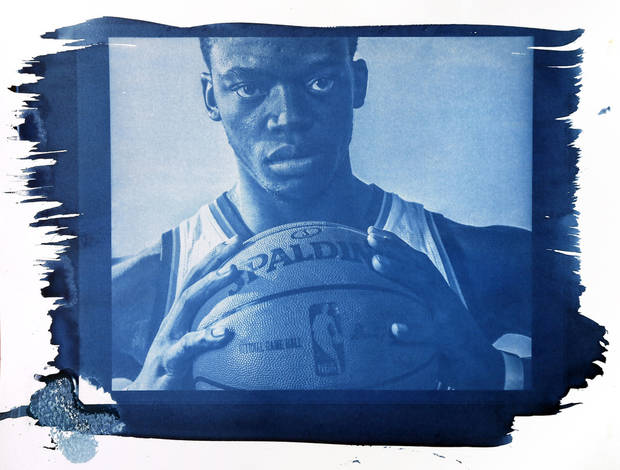 Oklahoma City's Reggie Jackson (15) is shown in this cyanotype print made from a photo taken during the Oklahoma City Thunder media day on Friday, Sept. 27, 2013, in Oklahoma City. Photo by Chris Landsberger, The Oklahoman. Cyanotype print by Nate Billings, The Oklahoman