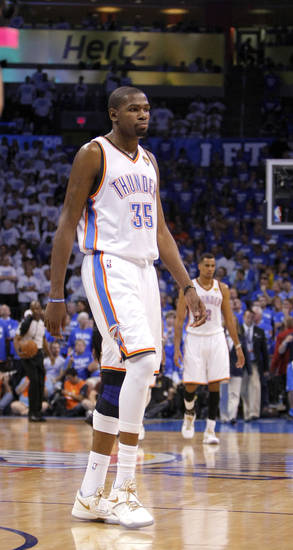 Oklahoma City's Kevin Durant (35) walks off the court in the final minute of Game 2 of the NBA Finals between the Oklahoma City Thunder and the Miami Heat at Chesapeake Energy Arena in Oklahoma City, Thursday, June 14, 2012. Photo by Sarah Phipps, The Oklahoman