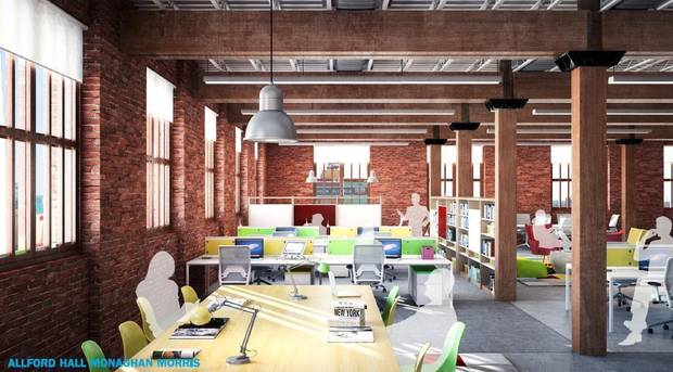 Original support timbers and the brick walls of the old Rock Island Plow Building will be the only original features left after the building�s renovation.