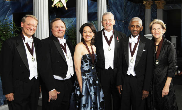 From left are Steve Malcolm, Harold Hamm, Cathy Keating, Tommy Franks, Marques Haynes and Elizabeth Warren on Thursday before the 84th annual awards.  Photo by Sarah Phipps,  The Oklahoman