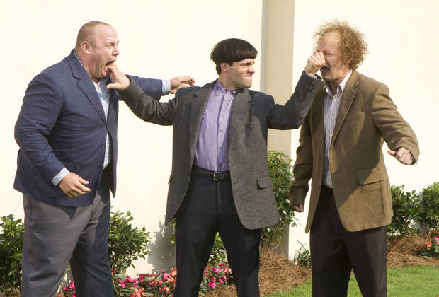 "In this image released by 20th Century Fox, from left, Will Sasso, Chris Diamantopoulos, and Sean Hayes are shown in a scene from ""The Three Stooges."" (AP Photo/20th Century Fox, Peter Iovino) ORG XMIT: NYET382"