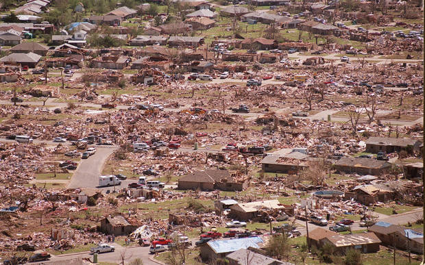 Tornado damage, aerial view: A neighborhood destroyed East of Westmoore school.
