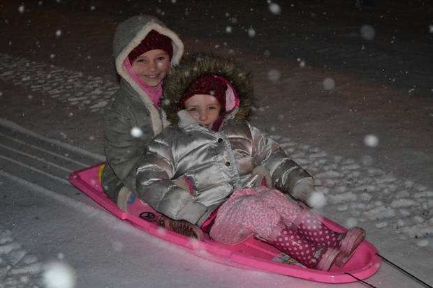 Snow/sledding pics from Hobart, OK