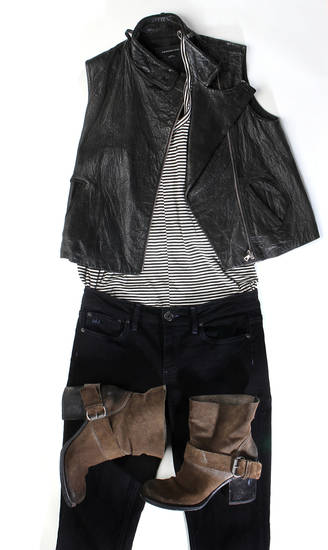 An Wang leather vest, $340 from Ampersand, tank top from The Reformation, $75.00, Marc Jacobs skinny jeans, $50, from Wasteland and boots purchased new from Bloomingdales can be part of an eco fashion makeover. (Kirk McKoy/Los Angeles Times/MCT)