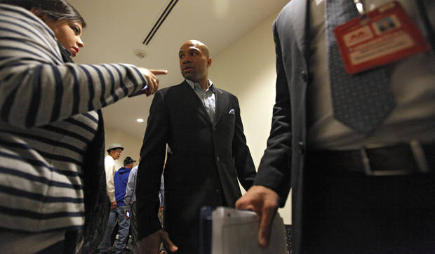Derek Fisher talks to the media about his signing with the Oklahoma City Thunder before the NBA basketball game between the Oklahoma City Thunder and the Los Angeles Clippers at Chesapeake Energy Arena on Wednesday, March 21, 2012 in Oklahoma City, Okla.  Photo by Chris Landsberger, The Oklahoman
