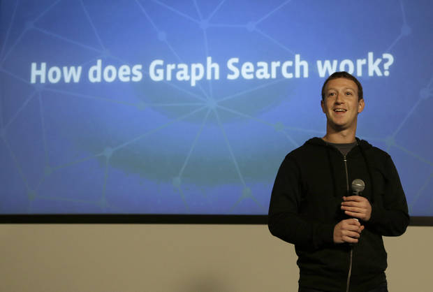 "Facebook CEO Mark Zuckerberg speaks at Facebook headquarters in Menlo Park, Calif., Tuesday, Jan. 15, 2013.  Zuckerberg introduced �graph search"" Tuesday, a new service that lets users search their social connections for information about their friends� interests, and for photos and places.  (AP Photo/Jeff Chiu)"