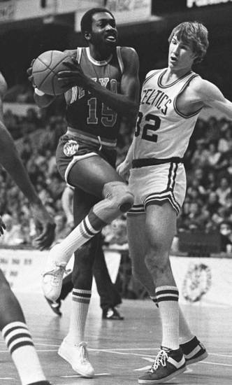 New York Knicks Earl Monroe drives against Boston Celtics Jeff Judkins in Boston in this Feb. 11, 1979 photo. AP Photo <strong> - ASSOCIATED PRESS</strong>
