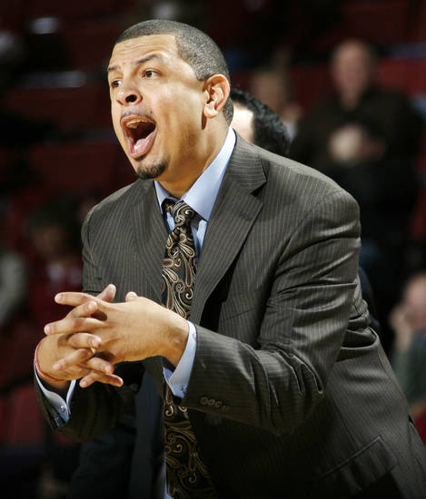 OU head coach Jeff Capel signals his team during the men's college basketball game between Maryland Eastern Shore and Oklahoma at Lloyd Noble Center in Norman, Okla., Monday, January 3, 2011. OU won, 73-49. Photo by Nate Billings, The Oklahoman