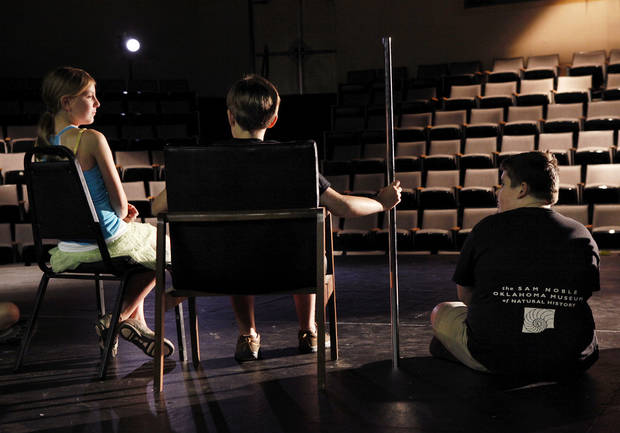 From left, actors rehearsing are Anna Cook, Liam Larson and Braydon Buzzard, during the 2012 summer arts program at the Mabee-Gerrer Museum of Art on the St. Gregory�s University campus in Shawnee.  Photos by Jim Beckel, The Oklahoman