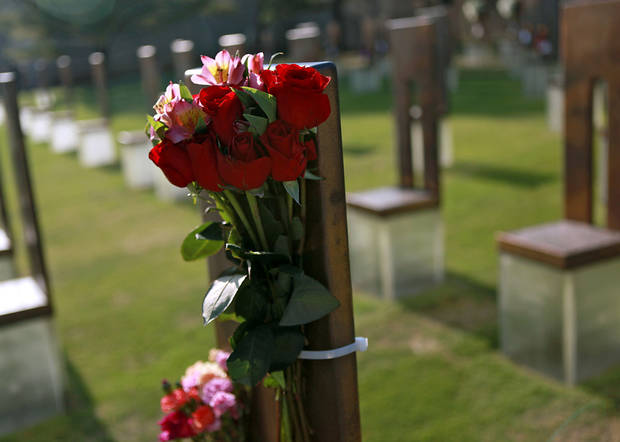 Flowers decorate a chair dedicated to Frankie Merrell during the 16th Annual Day of Remembrance at the Oklahoma City National Memorial and Museum in Oklahoma City, Oklahoma onTuesday, April 19, 2011. Photo by John Clanton, The Oklahoman