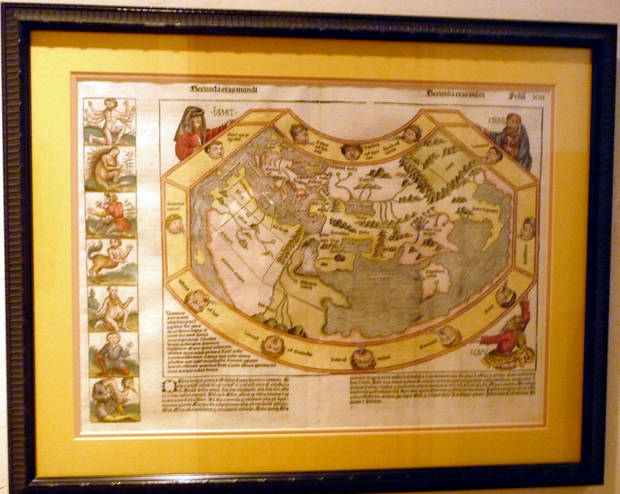 This Old World 1493 German map is on display in Andy Lester�s Edmond home.