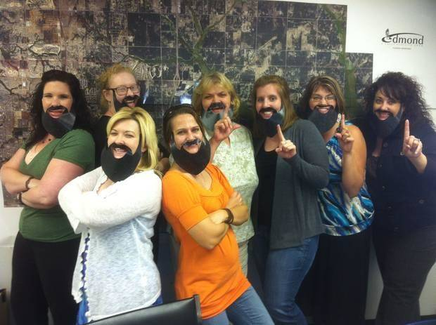 The women at the City of Edmond #FearTheBeard.