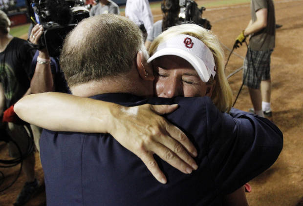 University of Oklahoma President Boren congratulates Oklahoma coach Patty Gasso after Oklahoma defeated Tennessee 4-0 on June 4, 2013 to win the NCAA championship. Photo by KT KING, The Oklahoman