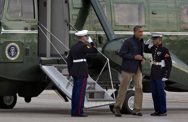 &lt;p&gt;President Barack Obama steps off the Marine One helicopter at JFK International Airport in New York, Thursday, Nov. 15, 2012, after touring, both by air and on the ground, parts of New York that were severely impacted by Superstorm Sandy. (AP Photo/Craig Ruttle)&lt;/p&gt;