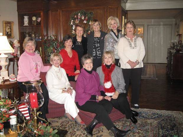LUNCHEON/BRIDGE BUNCH....Patti Marshall, Karen Ingram, Gennie Johnson, Susie Nelson, Carolyn Hall, Joy Richardson, Brooke Phillips, Pat Timberlake and Penny Replogle celebrate the season with a luncheon in the home of Hall. This group has been getting together for years.(Photo by Helen Ford Wallace)