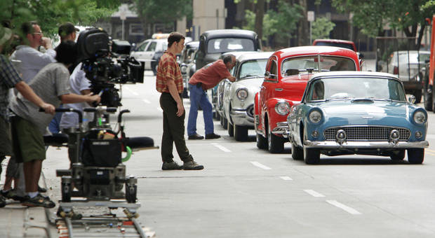 "Cars line up for a scene on the set of the film ""The Killer Inside Me"" last  summer in downtown Oklahoma City. PHOTO BY NATE BILLINGS, OKLAHOMAN archive"