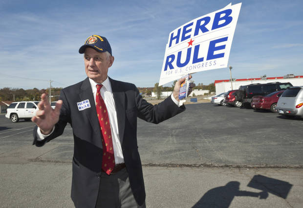 Democratic Congressional candidate Herb Rule does some last-minute campaigning at a poling place in North Little Rock, Ark., Tuesday, Nov. 6, 2012. Rule is challenging Republican Congressman Tim Griffin in Arkansas' 2nd District. (AP Photo/Danny Johnston)