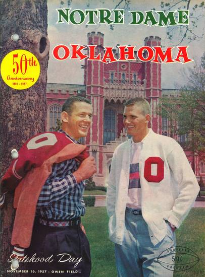 The OU-Notre Dame 1957 game program with OU co-captains Clendon Thomas (left) and Don Stiller. COURTESY OF OKLAHOMA SPORTS INFORMATION