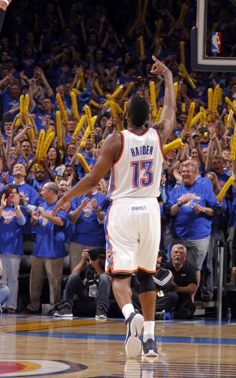 Oklahoma City's James Harden (13) celebrates a three-pointer during game 7 of the NBA basketball Western Conference semifinals between the Memphis Grizzlies and the Oklahoma City Thunder at the OKC Arena in Oklahoma City, Sunday, May 15, 2011. Photo by Sarah Phipps, The Oklahoman