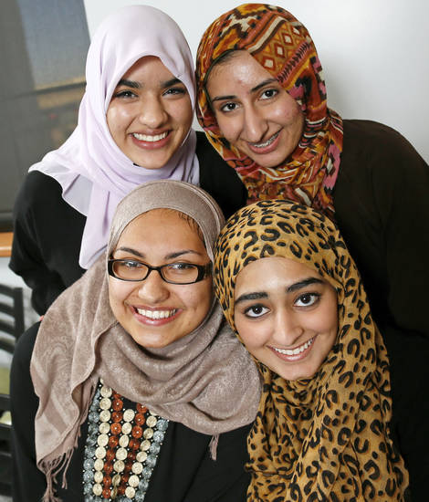 The first Mercy School graduating class is made up of, clockwise from top left, Zoha Qureshi, 17; Areebah Anwar, 18; Isra Cheema, 17; and Jasmine Shafik, 17. Photo by Nate Billings, The Oklahoman <strong>NATE BILLINGS - NATE BILLINGS</strong>