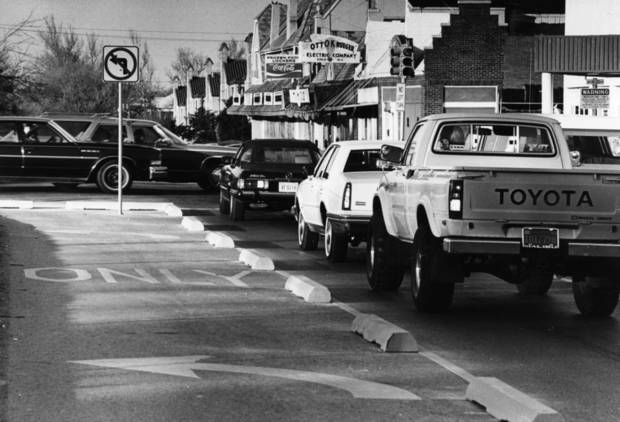 Traffic jams, like this one in December 1981, were a regular occurrence at NW 23 and Robinson Avenue before Central Expressway was built in the late 1980s. <strong>RENEE LYNN - The Oklahoman archive</strong>