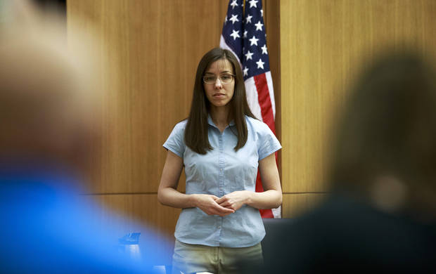 Defendant Jodi Arias takes the stand before testifying during her murder trial in  Superior Court  Tuesday, Feb. 5, 2013 in Phoenix.   Arias is accused of murdering her lover, Travis Alexander   as his Mesa, Areiz., home in 2008.  (AP Photo/The Arizona Republic,  Charlie Leight)       MARICOPA COUNTY OUT  NO SALES