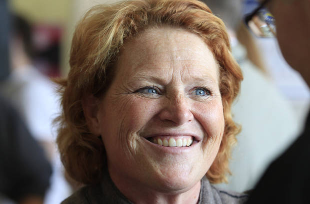 Democratic U.S. Senate candidate Heidi Heitkamp smiles as she speaks to supporters during a campaign stop at the Coordinated Campaign HQ in Grand Forks, N.D, Monday, Nov. 5, 2012. Heitkamp is running against Republican Rick Berg for the North Dakota's U.S Senate seat. (AP Photo/LM Otero)