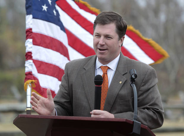 Del. Chris Peace, R-Hanover gestures during a news conference announcing the purchase of 285 acres of land at the Gaines Mill Civil War battlefield site, Monday, Nov. 19, 2012 in Mechanicsville, Va. Gaines' Mill is where Gen. Robert E. Lee had his first major victory as commander of the Army of Northern Virginia. (AP Photo/Steve Helber)