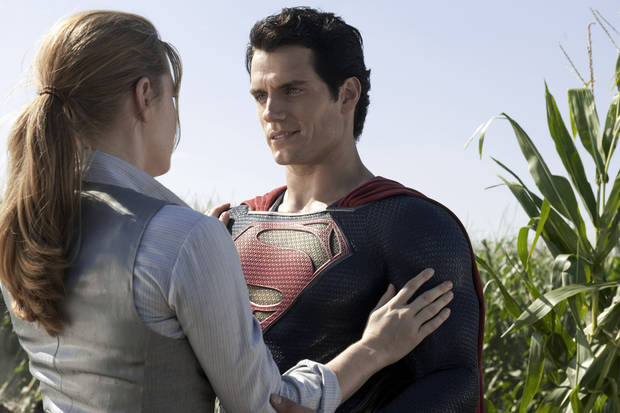"Amy Adams, left, and Henry Cavill in ""Man of Steel."" <strong></strong>"