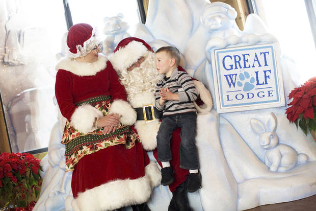 The Great Wolf Lodge transforms into Snowland each holiday season. The resort caters to kids, with themed rooms, an indoor water park and an arcade.  Photo provided