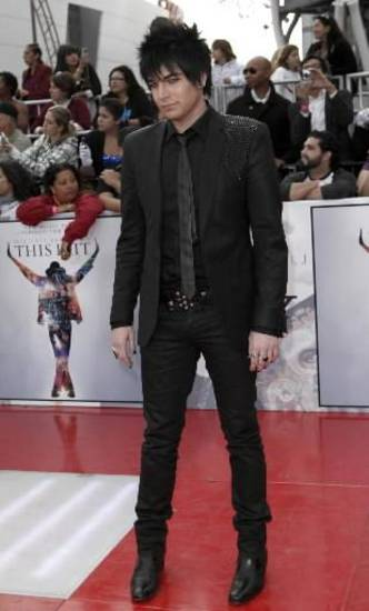 "American Idol runner-up Adam Lambert during the premiere of Michael Jackson's movie ""This Is It."" (AP Photo/Matt Sayles)"