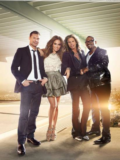 """American Idol's"" Ryan Seacrest, Jennifer Lopez, Steven Tyler and Randy Jackson - Fox Photo by Tony Duran"