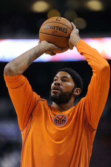 New York Knicks' Rasheed Wallace (36) shoots the ball during warm ups before an NBA basketball game against the Philadelphia 76ers on Monday, Nov. 5, 2012, in Philadelphia. (AP Photo/Michael Perez)