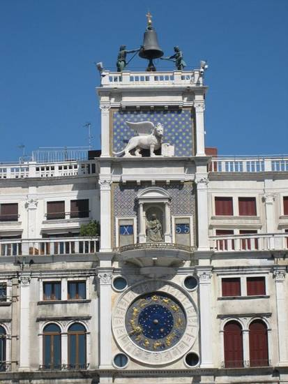 Giant Moors strike the hour on the Clock Tower at Piazza San Marco.