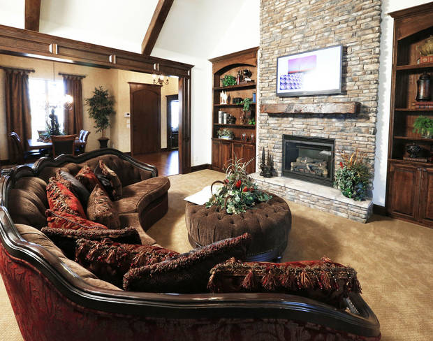 This view shows the expansive living room of the model home at 4500 Northfields in Norman.