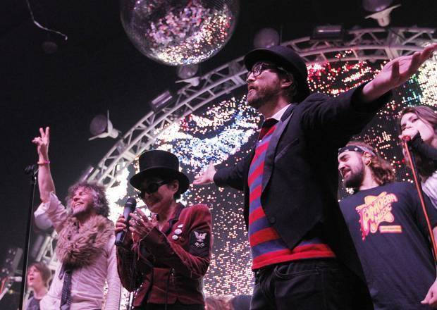 Yoko Ono, center, and Sean Lennon, right, join The Flaming Lips on stage during the Lips' New's Year's Freakout at the Coca-Cola Bricktown Event Center in Oklahoma City in 2011. The Oklahoman Archives