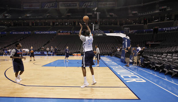 Oklahoma City's Kevin Durant takes a shot during the NBA Finals practice day at the Chesapeake Energy Arena on Monday, June 11, 2012, in Oklahoma City, Okla. Photo by Chris Landsberger, The Oklahoman