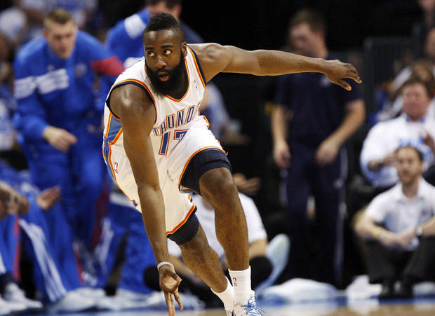 Oklahoma City's James Harden (13) celebrates a three-point shot during Game 2 of the first round in the NBA basketball  playoffs between the Oklahoma City Thunder and the Dallas Mavericks at Chesapeake Energy Arena in Oklahoma City, Monday, April 30, 2012. Photo by Nate Billings, The Oklahoman