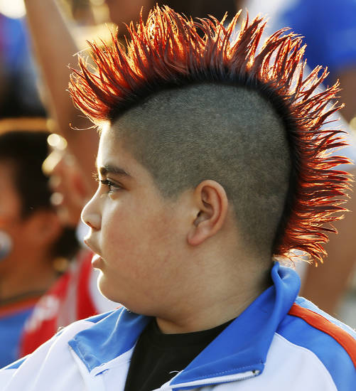 Jordan Yepez, 10, waits in Thunder Alley for the start of Game 1 in the first round of the NBA playoffs between the Oklahoma City Thunder and the Houston Rockets at Chesapeake Energy Arena in Oklahoma City, Sunday, April 21, 2013. Photo by Nate Billings, The Oklahoman