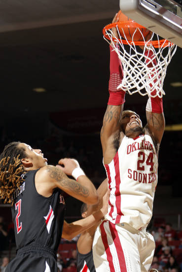 Oklahoma's Romero Osby (24) dunks over Texas Tech's Terran Petteway (2) during the men's college basketball game between the University of Oklahoma  and Texas Tech University of at the Lloyd Nobel Center in Norman, Okla., Tuesday, Jan. 17, 2012. Photo by Sarah Phipps, The Oklahoman