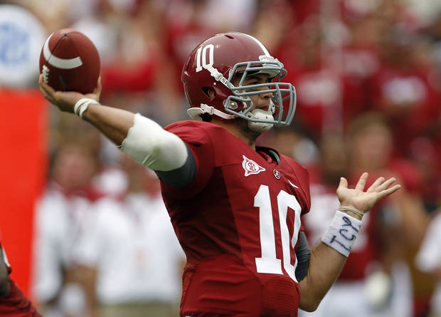 Alabama quarterback A.J. McCarron was almost a Sooner. (AP Photo/Butch Dill)