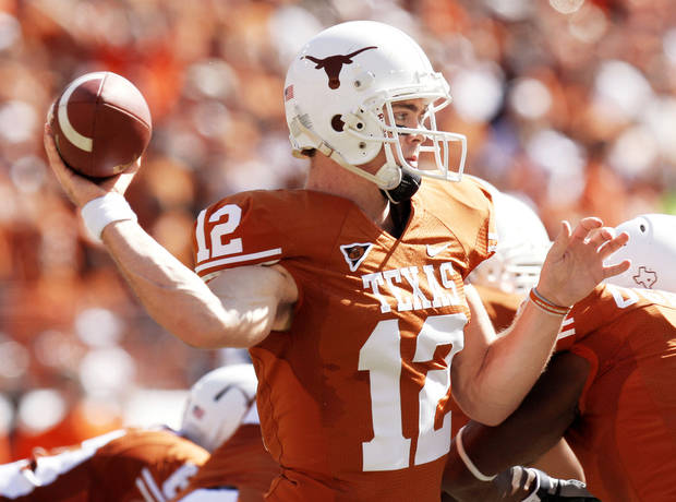 Texas quarterback Colt McCoy is rated 98 overall on EA Sports' NCAA Football 10 video game.  Photo by Doug Hoke, The Oklahoman