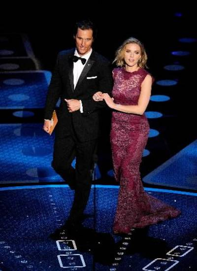 Matthew McConaughey and Scarlett Johansson appear onstage during the show.