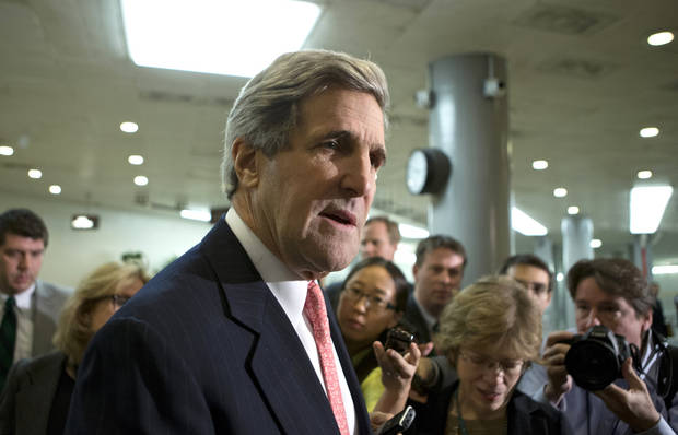 Senate Foreign Relations Chairman Sen. John Kerry, D-Mass., speaks to reporters following a closed-door briefing on the investigation of the deadly Sept. 11 attack on the U.S. consulate in Benghazi, Libya, at the Capitol in Washington, Wednesday, Dec. 19, 2012. An Accountability Review Board's report indicates serious bureaucratic mismanagement was responsible for the inadequate security at the mission in Benghazi where the U.S. ambassador and three other Americans were killed.  (AP Photo/J. Scott Applewhite)