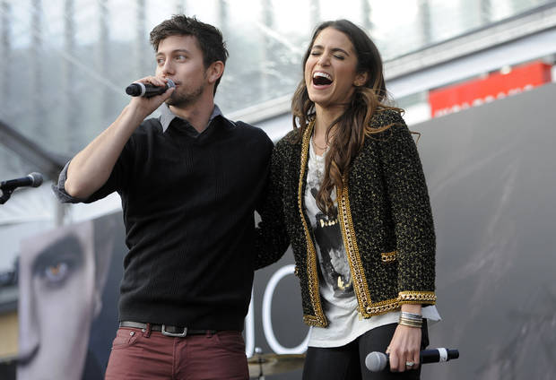 "Jackson Rathbone, left, and Nikki Reed, cast members in the film ""The Twilight Saga: Breaking Dawn - Part 2,"" appear onstage during the Twilight Fan Camp Concert outside Nokia Theater L.A. Live, Saturday, Nov. 10. 2012, in Los Angeles. The world premiere of the film will be held at Nokia Theater L.A. Live on Monday. (Photo by Chris Pizzello/Invision/AP) ORG XMIT: CACP116"